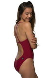 Brandon Fixed-Back Onesie - Cranberry