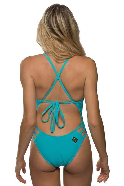 Nico Tie-Back Onesie - Hawaii Blue