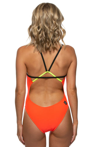 Perry Fixed-Back Onesie - Lava/Black/Highlighter Yellow