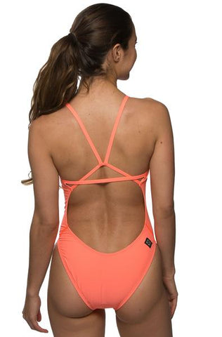 Perry Fixed-Back Onesie - Papaya