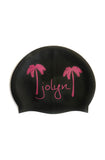 Swim Cap - Black Pink Palms