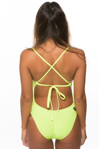 Jackson 2 Tie-Back Onesie - Highlighter Yellow