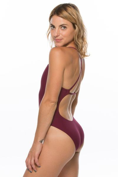Brandon Fixed-Back Onesie - Cabernet