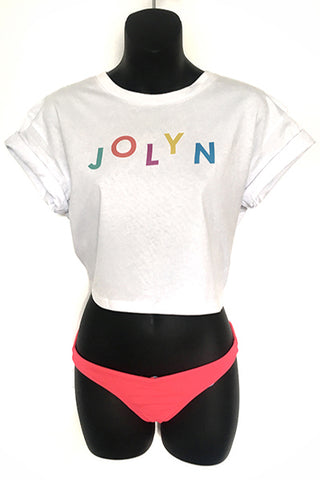 JOLYN Cropped Tee - White/Rainbow