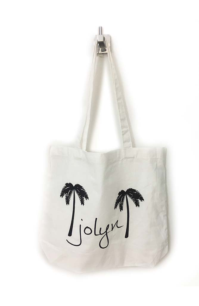 Canvas Tote Bag - White Palm