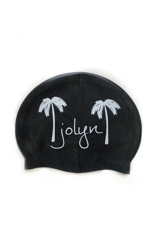 Swim Cap - Palm Tree Black