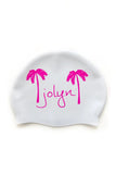 Swim Cap - White with Pink Palm Tree