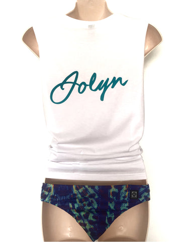 JOLYN Muscle Tank - White/Teal