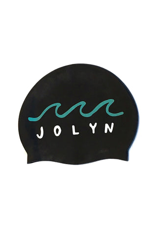 Swim Cap - Waves Black