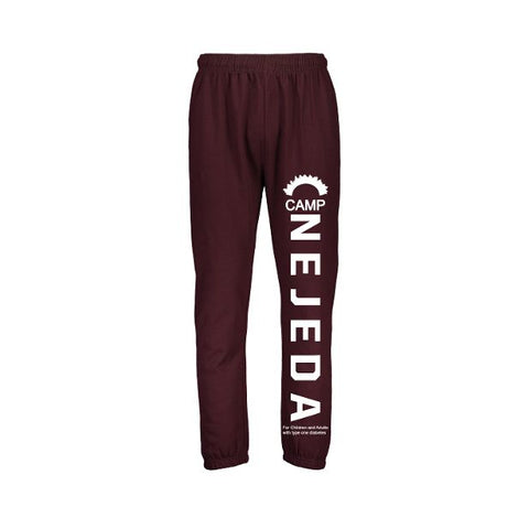 Sweatpants - Mens Fleece Pants - (Maroon/Black - Adult)
