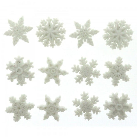 Button #1445 - Glitter Snowflakes