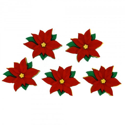 Button #2951 - Red Poinsettias
