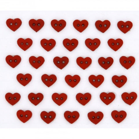 Button #6399 - Micro Red Hearts