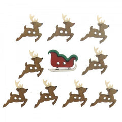 Button #7590 - Sew Cute Sleigh/Reindeer