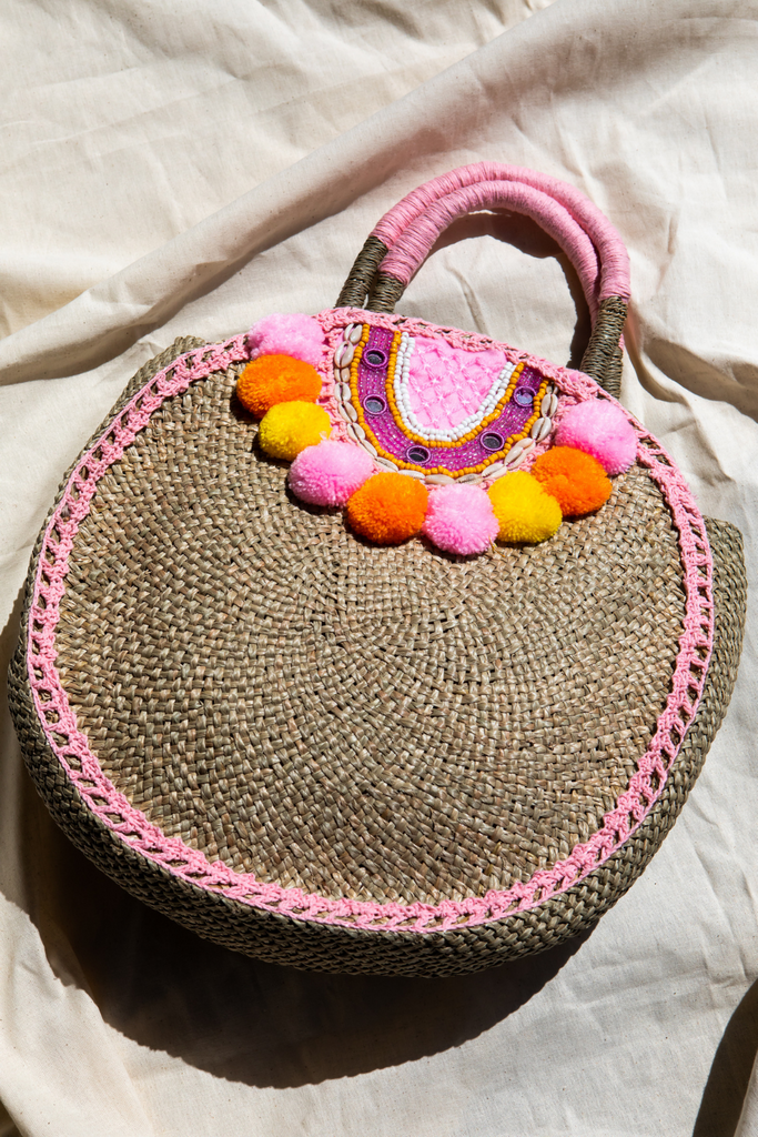Irene Pom Pom and shells Straw Tote
