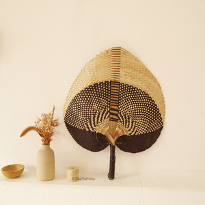 Irving Straw Handwoven Fan in Black - Size Large