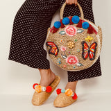 Juliette Beaded Butterfly Straw Tote