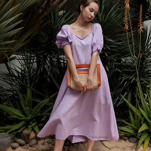 Madera Puffy Sleeves Dress in Lavender