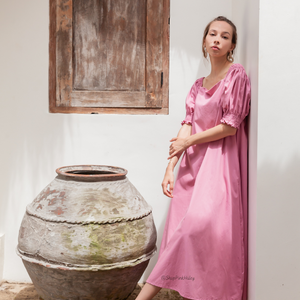 Madera Puffy Sleeves Dress in Pink