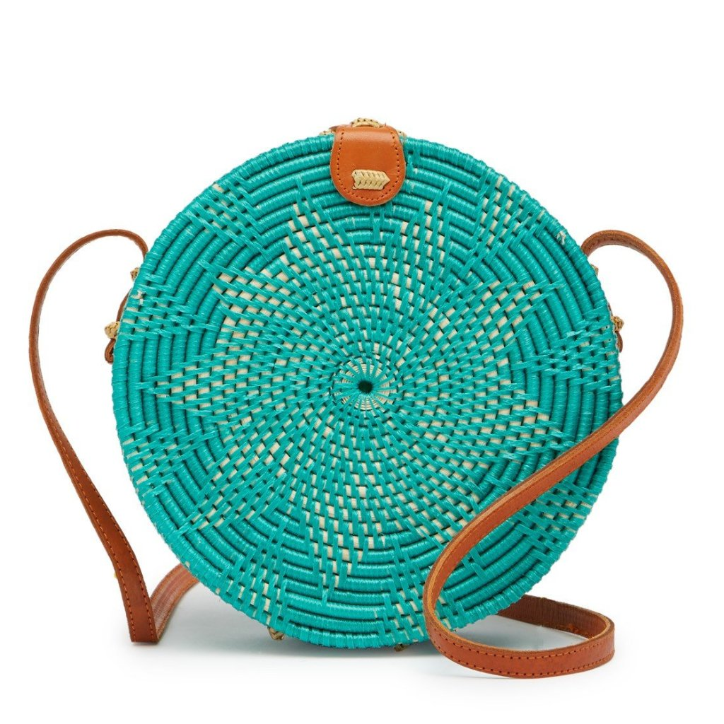 Jones Vacay Round Straw Crossbody in Teal