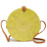 Jones Vacay Round Straw Crossbody in Yellow