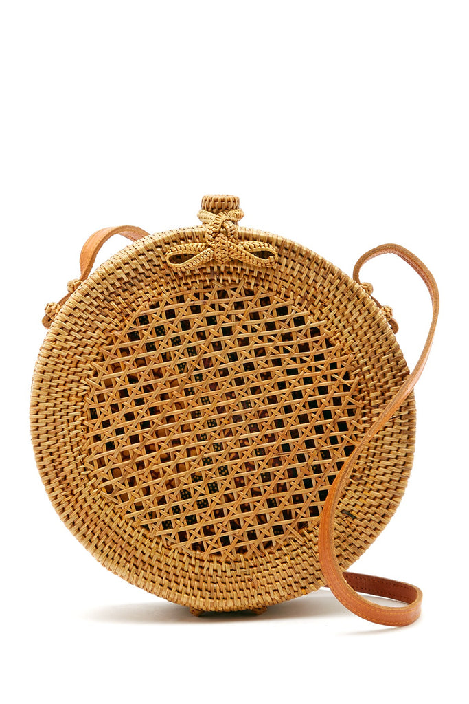 Sofia Straw Net Round Crossbody Bag
