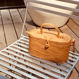 Kriss Top Handle Oval Straw Basket Crossbody Bag