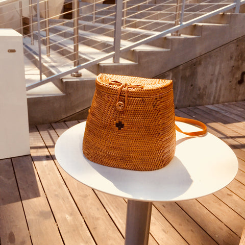 Carol Rattan Straw Backpack