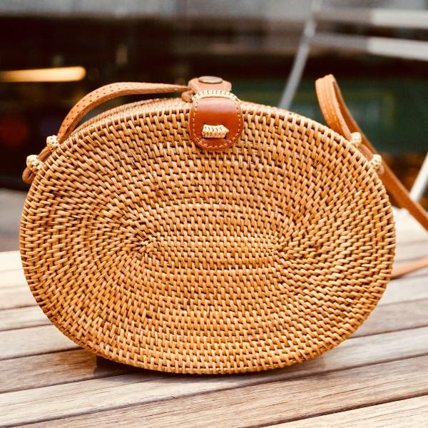 Alexa Straw Vacay Oval Crossbody Bag