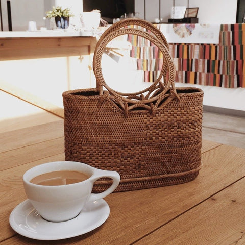 Claire Double Round Handle Basket Tote