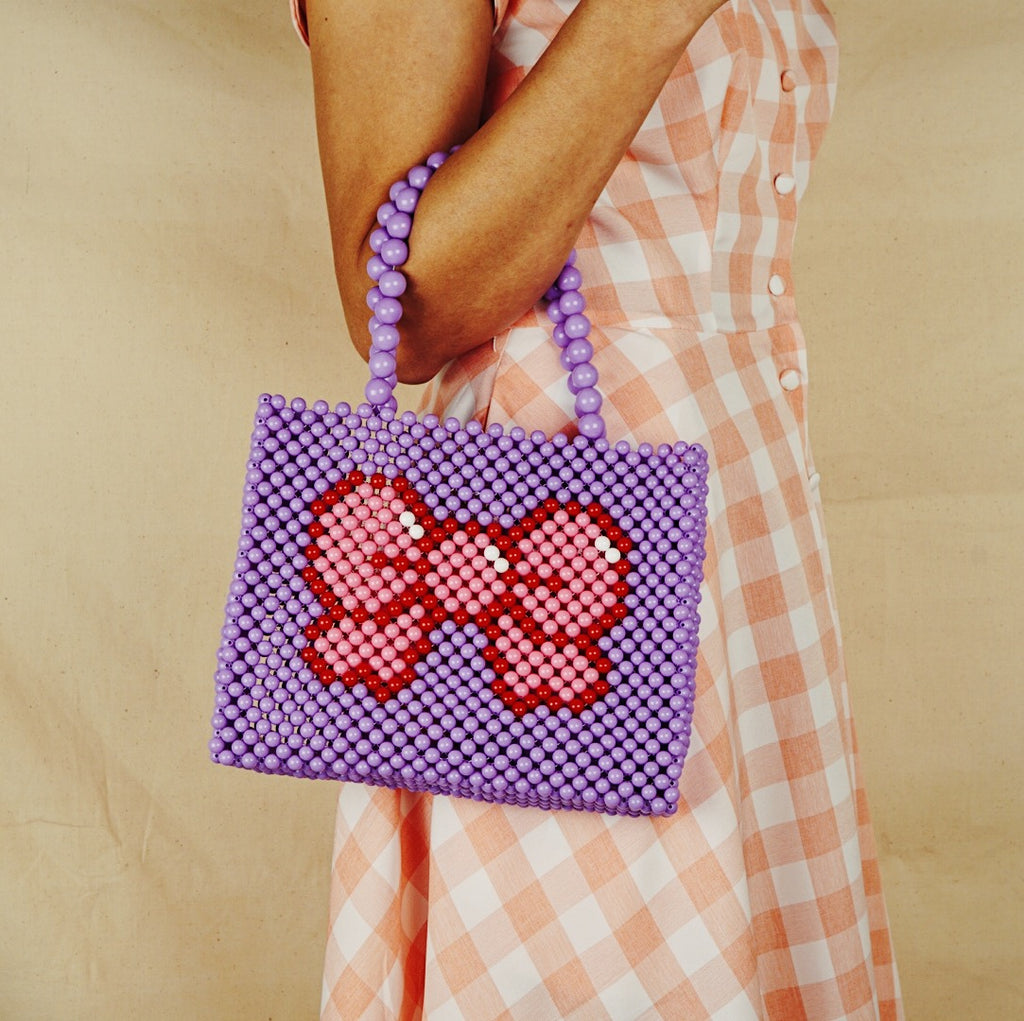 Pink Bow Beaded Tote