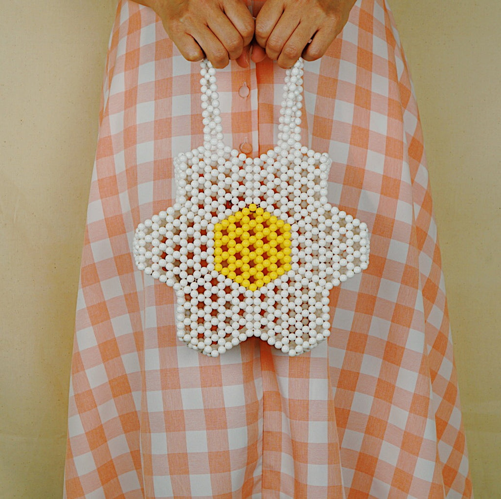 Flower Beaded Tote in White