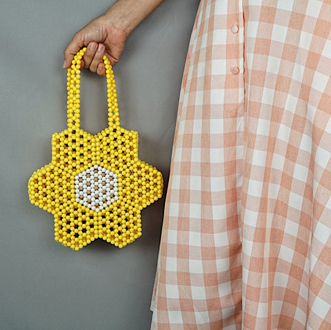 Flower Beaded Tote in Yellow