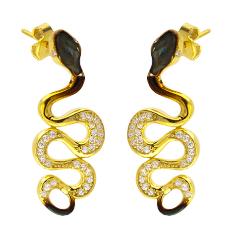 Ember Coiled Snake Earrings