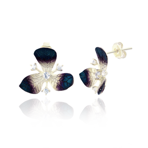 Three Petal Ember Orchid Earrings