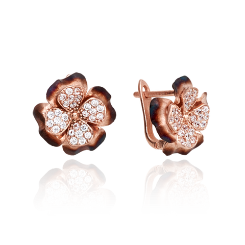 Four Leaf Ember Clover Earrings