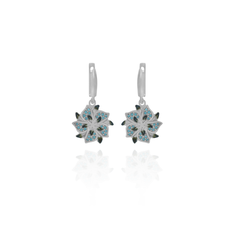 Ember Star Flower with Sparkling Blue Accents Earrings