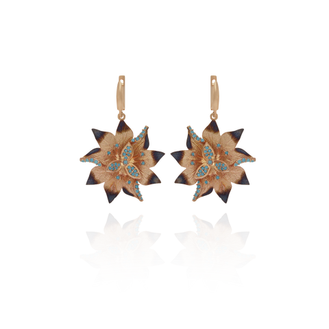 Ember Desert Flower with Sparkling Blue Accents Earrings