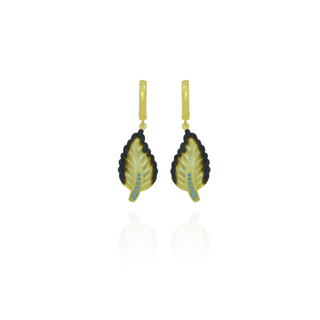 Ember Leaf with Sparkling Blue Accents on Stem Earrings