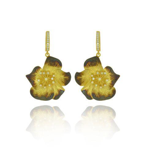 Ember Magnolia Flower with Sparkling Center Earring