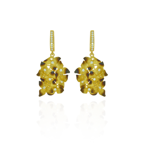 Ember Cluster of Flowers with Sparkling Centers Earrings