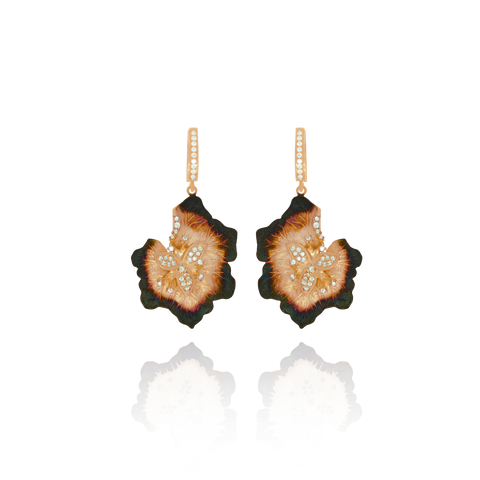 Ember Leaf Petals with Sparkling Center Earrings