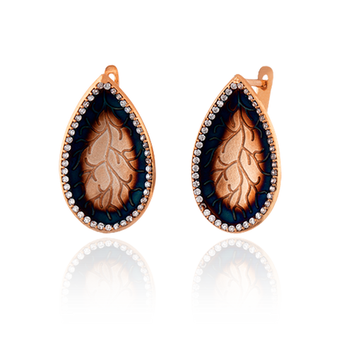 Pear Drop Coral Imprint Earrings