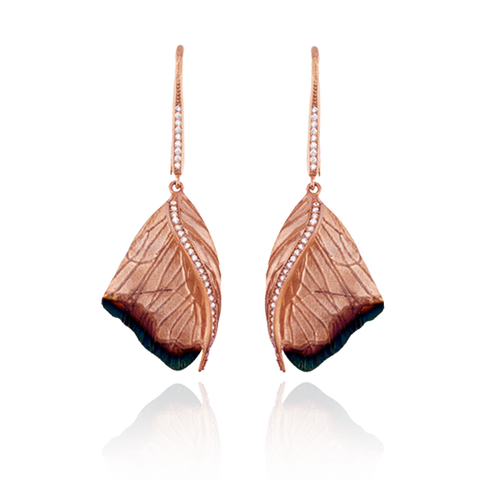 Butterfly Wing Earrings with Ember Detail