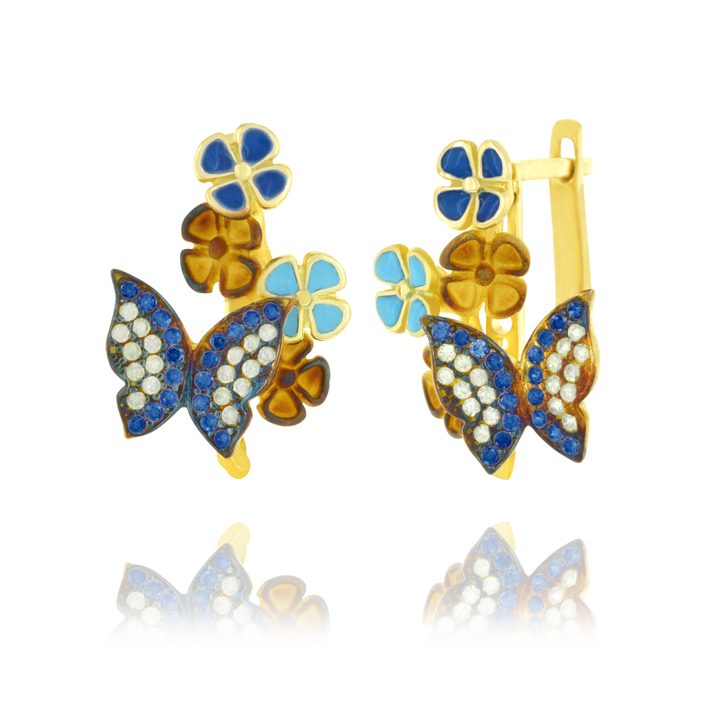 Sparkling Butterfly and Enamel Earrings