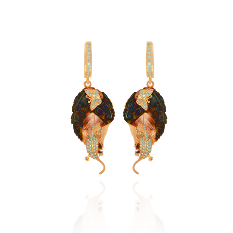Ember Coral Imprinted leaf with Sparkling Lizard and Butterfly Earrings