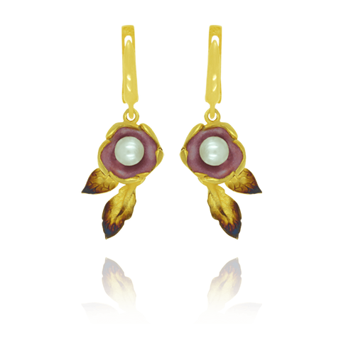 Ember Flower with Pearl Earrings