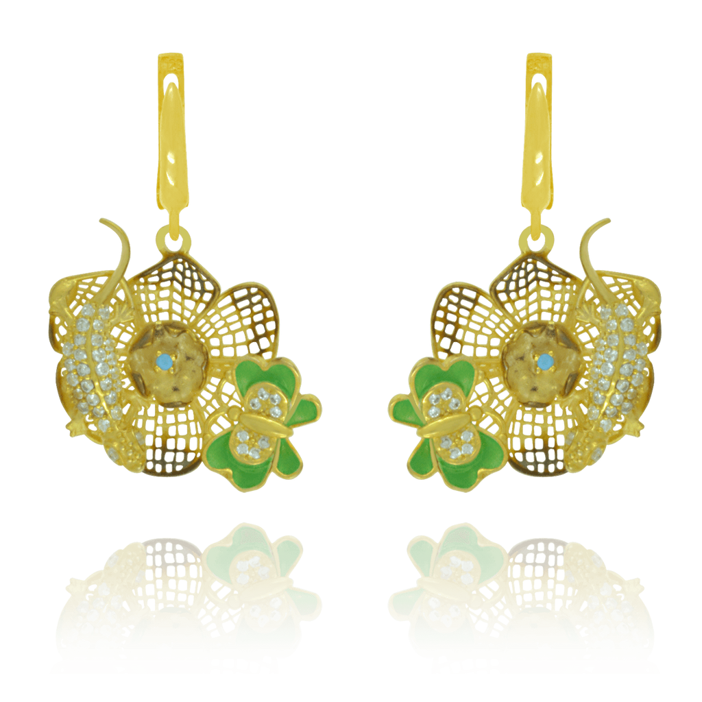 Golden Filigree Flower Earrings