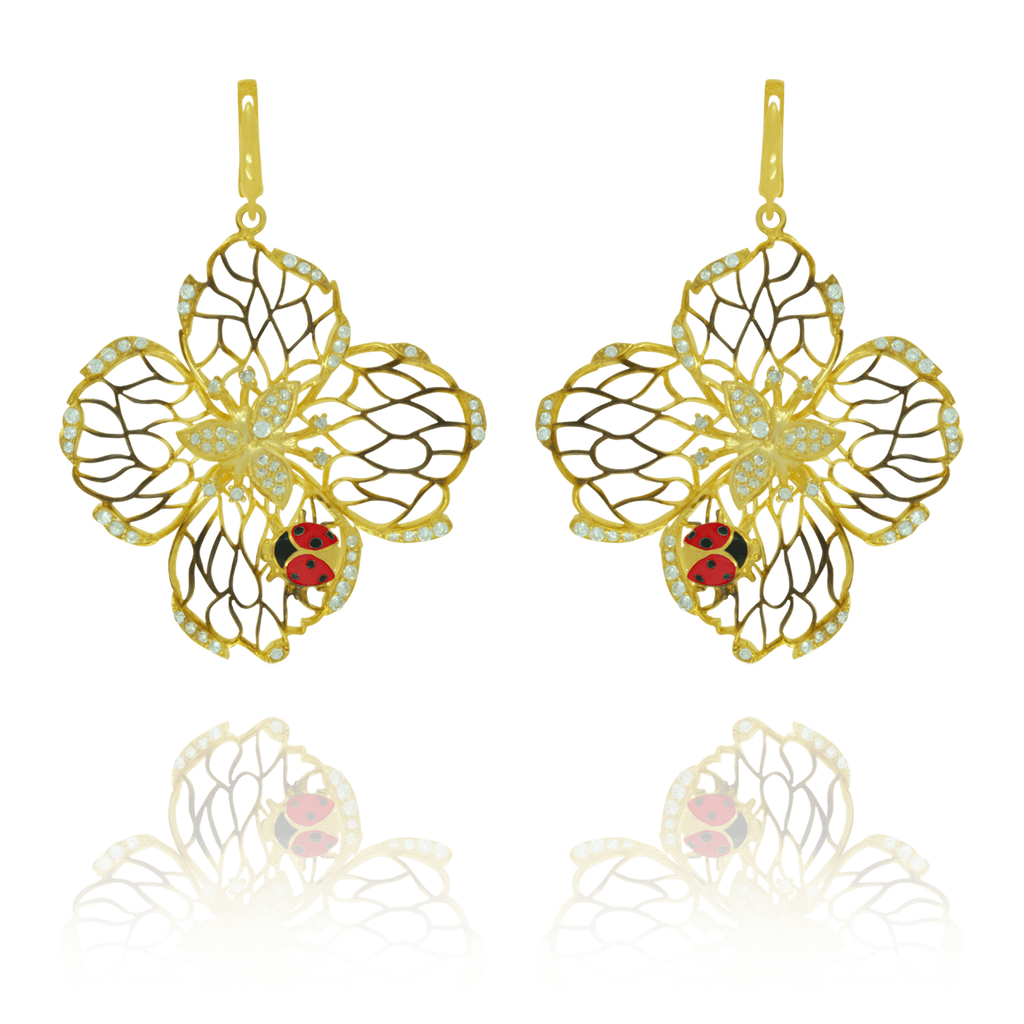 Filigree Flower Earrings with Ladybug