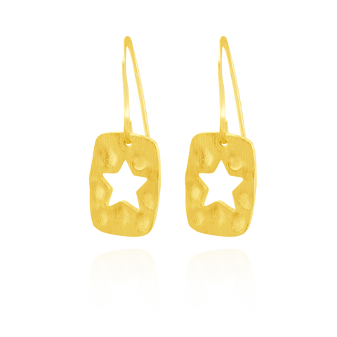 Hammered Finish Star Earrings